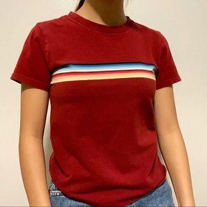rainbow striped red tee